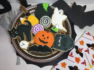 Mixed platter of Halloween cookies