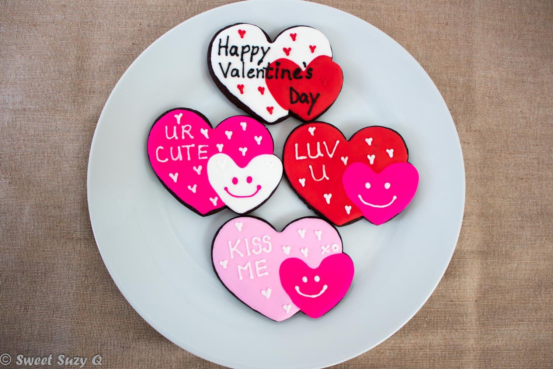 Dual hearts Valentine's cookies