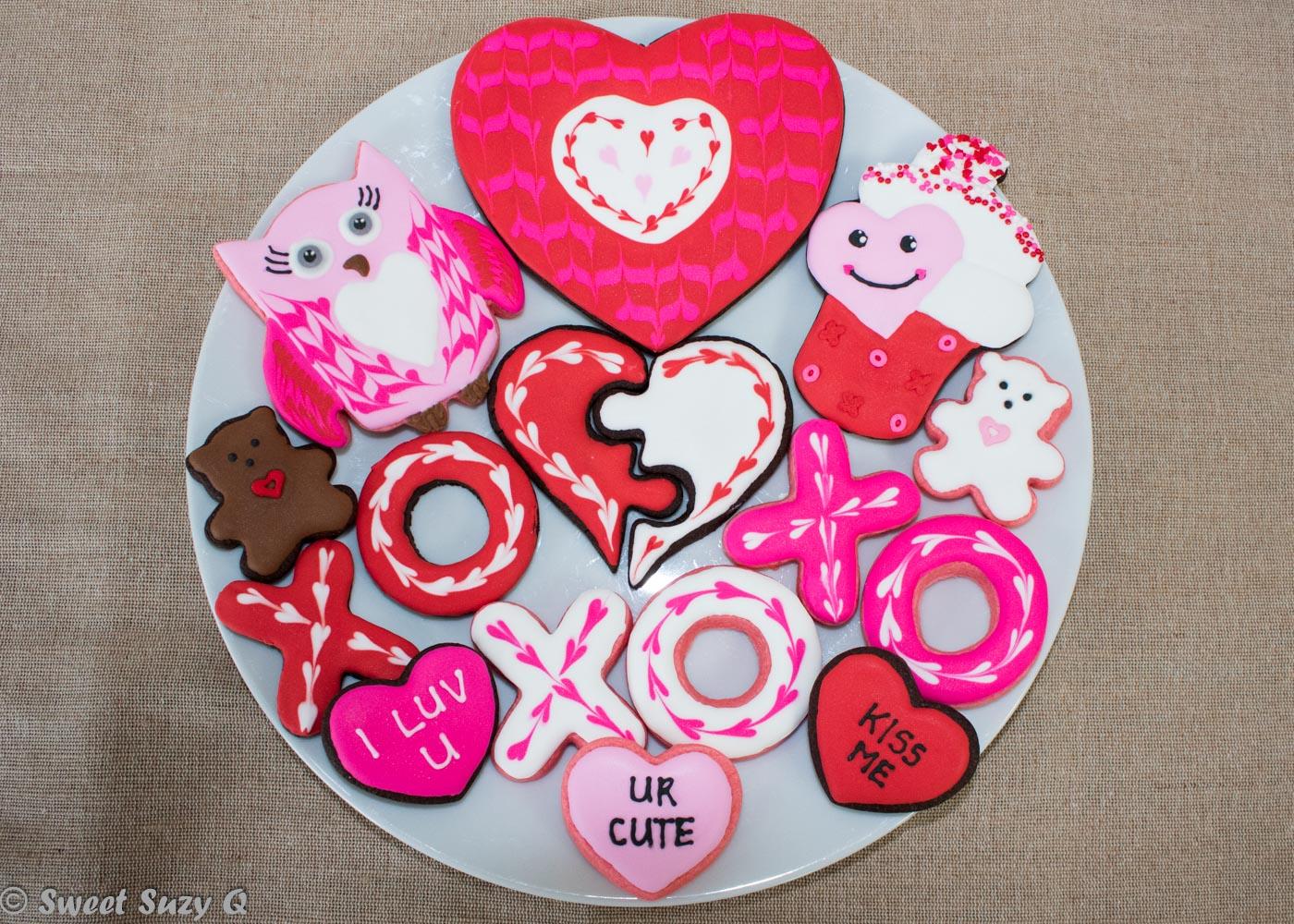 Valentine's Day cookies platter