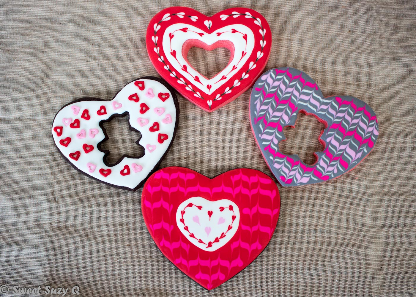 Large Valentine's hearts with cutouts