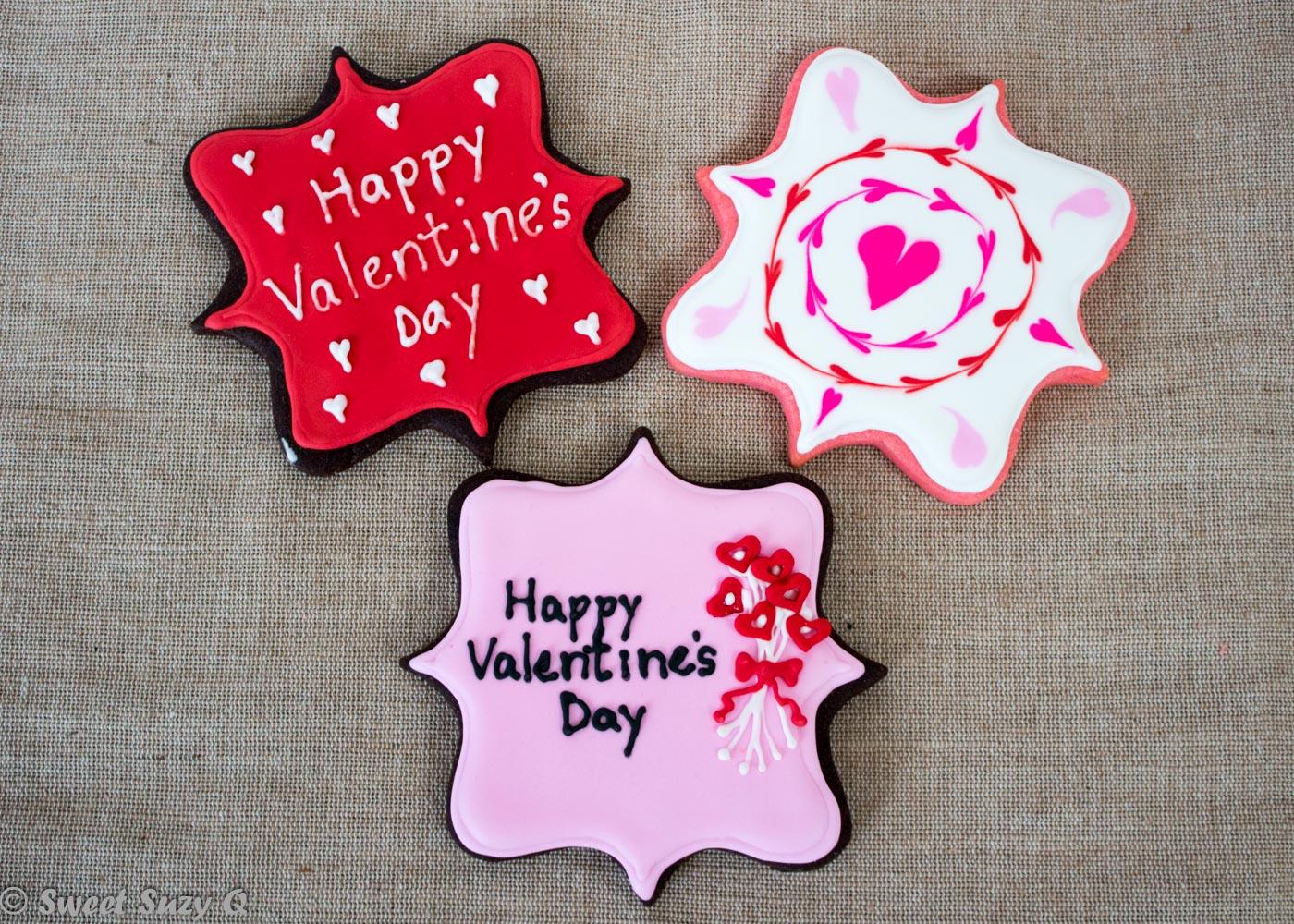 Large Valentine's Day plaque cookies