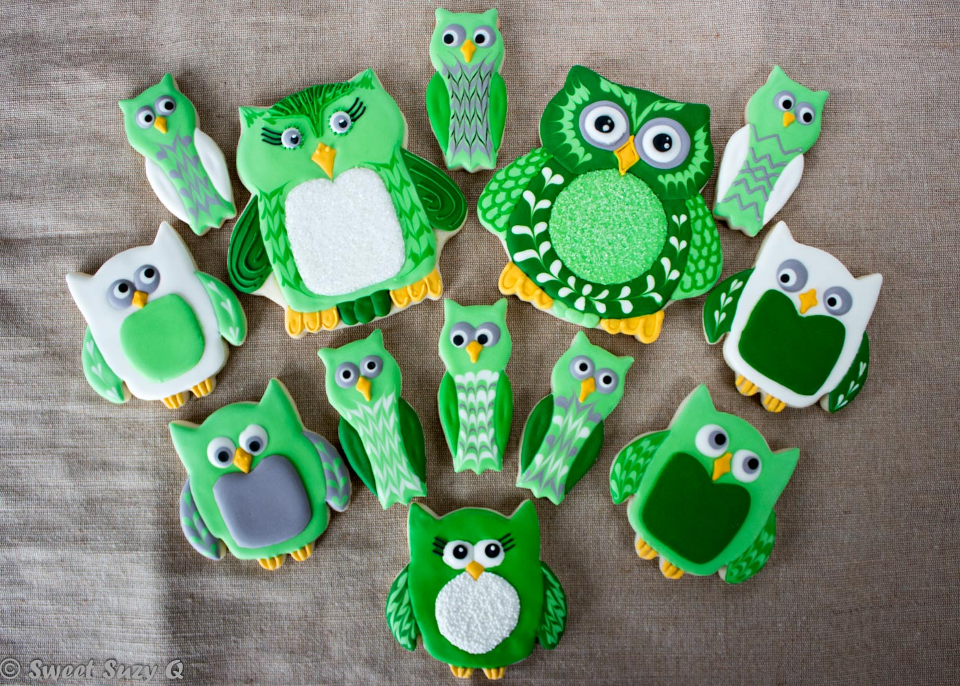 Owl group of sugar cookies